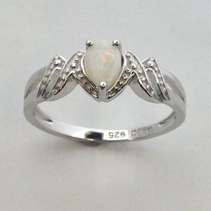 """Jewelry - Natural Opal """"MOM"""" Ring 925 Sterling Silver"""